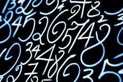 Background of numbers. from zero to nine. Numbers texture. Currency symbols. Numerology. Mathematical equations and formulas.  stock photography