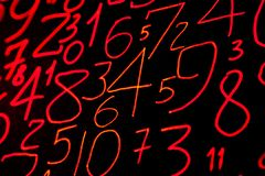 Background of numbers. from zero to nine. Numbers texture. Currency symbols. Numerology. Mathematical equations and formulas.  royalty free stock photography