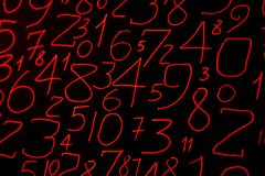 Background of numbers. from zero to nine. Numbers texture. Currency symbols. Numerology. Mathematical equations and formulas.  royalty free stock image