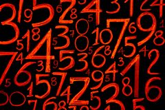 Background of numbers. from zero to nine. Numbers texture. Currency symbols. Numerology. Mathematical equations and formulas.  royalty free stock images