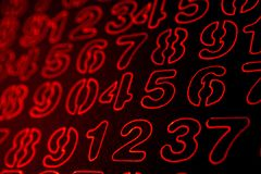 Background of numbers. from zero to nine. Numbers texture. Currency symbols. Numerology. Mathematical equations and formulas.  stock image