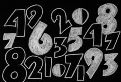 Background of numbers. from zero to nine. Numbers texture. Currency symbols. Numerology. Mathematical equations and formulas.  stock photo