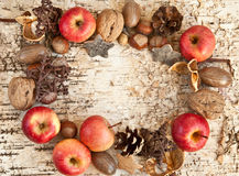 Background with nuts and apples Stock Photos