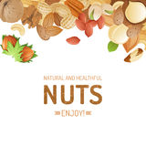Background with nuts Royalty Free Stock Photos