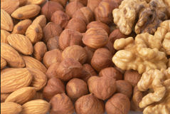 Background with nuts mix. Background with almond nuts, hazel-nuts and walnuts mix Royalty Free Stock Photography