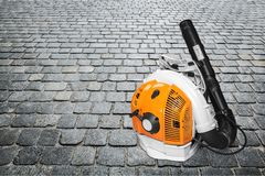 Hand leaf blower machine on background. Background object equipment metal leaf steel royalty free stock image