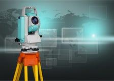 Surveyor telescope equipment, ready for making royalty free stock images