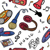 Background with objects on a musical theme. Royalty Free Stock Photos