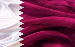 Background on the occasion Qatar national day celebration. Contain landmarks, logo and flag, inscription in Arabic translation : qatar national day 18 th Royalty Free Stock Photo