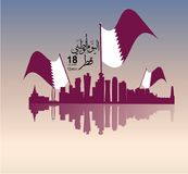 Background on the occasion Qatar national day celebration. Contain landmarks, logo and flag, inscription in Arabic translation : qatar national day 18 th Royalty Free Stock Photos