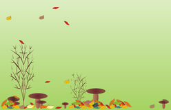Background for October. A background for a calendar. Background from mushrooms and fallen down leaves. Autumn pair Stock Photo