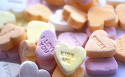 Background Of Candy Hearts Stock Photos