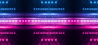 Free Background Of Empty Stage Show. Neon Blue And Purple Light And Laser Show. Laser Futuristic Shapes On A Dark Background. Royalty Free Stock Images - 187850019