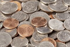 Free Background Of  Most Common American Coins. Pennies, Dimes, Nickels, Quarters Royalty Free Stock Image - 170249856