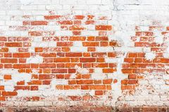 Background Of Old Vintage Brick Wall With Peeling Plaster Royalty Free Stock Image
