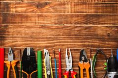 Background Of Professional Electrician Tools With Space For Text Royalty Free Stock Photos