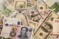 Free Background Of Various Currency Banknotes, Dollar, Euro, Yuan Royalty Free Stock Photos - 157632048