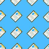 Background for office. Clipboard. Seamless pattern with colored clipboards with some document on blue background Royalty Free Stock Photos