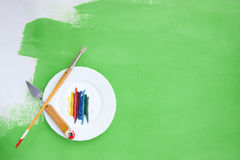 Background with oil paint and painting instruments Stock Image