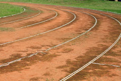 Background: old athletic curved track Stock Photos