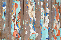 Background of old boards with peeled paint Stock Image