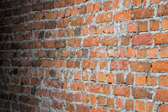 Background old brick wall in perspective. Vintage grunge texture Stock Photography