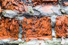 Background of old brick wall texture Stock Photos