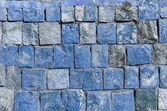 Background old broken the blue brick wall.  Royalty Free Stock Photos
