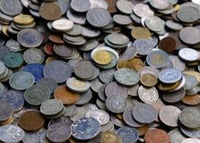 Background of old coins stock photos
