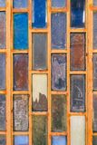 Background of old colorful glass and wood element door Royalty Free Stock Photos
