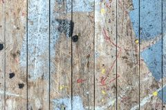 Background of an old dirty painted wooden deck. stock photo