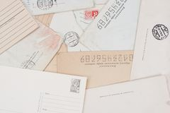 Background with old envelopes Royalty Free Stock Photos