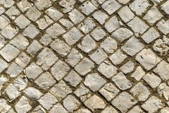 Background of old irregular inclined cobblestones. Background of old irregular cobblestones royalty free stock photos