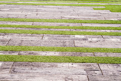 Background old lumber floor in garden Royalty Free Stock Photography