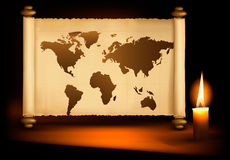 Background with old map and a candle. Vector Royalty Free Stock Image