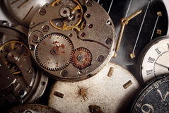 Background from old mechanical clocks Royalty Free Stock Photo