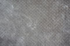 Steel floor background. Background of old metal diamond plate in grey color Stock Photography