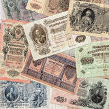 Background from old money of Imperial Russia. 19 - 20 century. Оld notes of Imperial Russia. 19 - 20 century Stock Photos