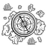 Background with old nautical map. Islands, ships and vintage retro compass royalty free illustration