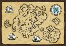Background with old nautical map. Royalty Free Stock Photo