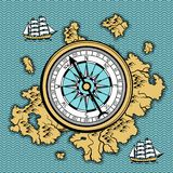 Background with old nautical map. royalty free illustration
