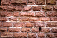 Background of Old Orange Vintage Brick Wall in Pattern Royalty Free Stock Images