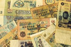 Background - old paper banknotes of the Soviet Union royalty free stock image