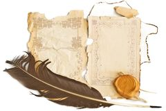Background with old paper and feather. Background with  ornamental old paper and stamp and black feather Stock Photos