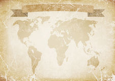 Background old paper with word map, banner. illustration. Background old grunge paper with word map, scratches, banner Stock Images