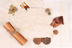 Background from old papers. With souvenirs and coins Stock Image