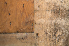 Background from old plywood. With nails royalty free stock image