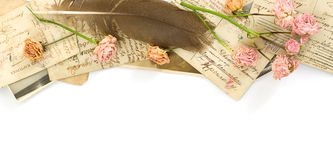 Background with old postcards and flowers Stock Photography