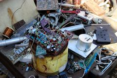 Background with old rare electronic components randomly decomposed royalty free stock images