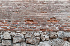 Background old real texture of a red brick wall with some stones. A photo of a real old background texture of a red brick wall with some big stones Stock Image